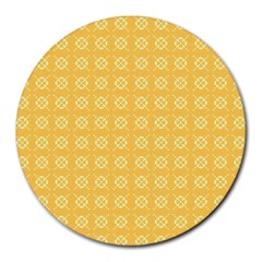 Yellow Pattern Background Texture Round Mousepads by BangZart