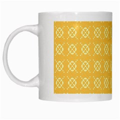 Yellow Pattern Background Texture White Mugs by BangZart