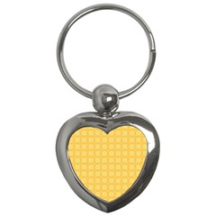 Yellow Pattern Background Texture Key Chains (heart)