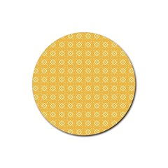 Yellow Pattern Background Texture Rubber Round Coaster (4 Pack)