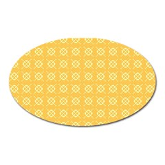 Yellow Pattern Background Texture Oval Magnet by BangZart