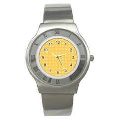 Yellow Pattern Background Texture Stainless Steel Watch by BangZart