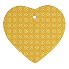 Yellow Pattern Background Texture Heart Ornament (two Sides) by BangZart