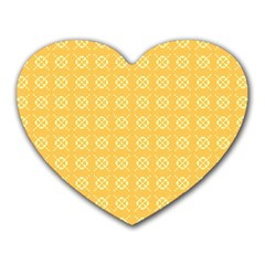 Yellow Pattern Background Texture Heart Mousepads