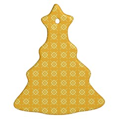 Yellow Pattern Background Texture Christmas Tree Ornament (two Sides)