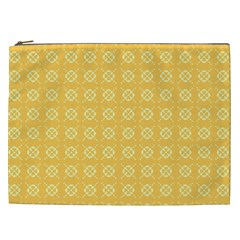 Yellow Pattern Background Texture Cosmetic Bag (xxl)  by BangZart