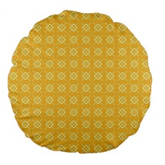 Yellow Pattern Background Texture Large 18  Premium Flano Round Cushions by BangZart