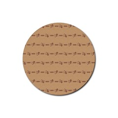Brown Pattern Background Texture Rubber Round Coaster (4 Pack)