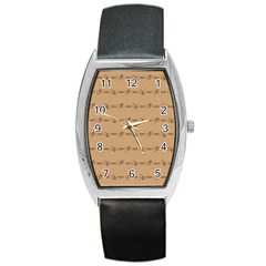 Brown Pattern Background Texture Barrel Style Metal Watch by BangZart