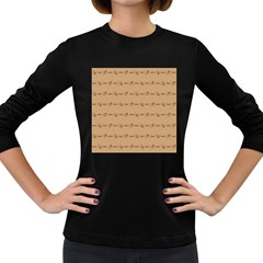 Brown Pattern Background Texture Women s Long Sleeve Dark T Shirts