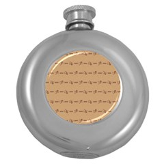 Brown Pattern Background Texture Round Hip Flask (5 Oz) by BangZart