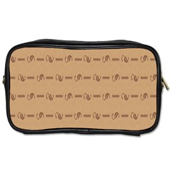Brown Pattern Background Texture Toiletries Bags 2 Side by BangZart