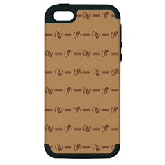 Brown Pattern Background Texture Apple Iphone 5 Hardshell Case (pc+silicone)