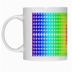Square Rainbow Pattern Box White Mugs