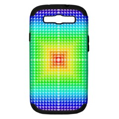 Square Rainbow Pattern Box Samsung Galaxy S Iii Hardshell Case (pc+silicone) by BangZart
