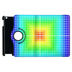 Square Rainbow Pattern Box Apple Ipad 2 Flip 360 Case