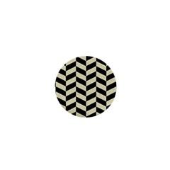 Chevron1 Black Marble & Beige Linen 1  Mini Magnets by trendistuff