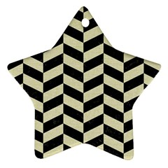Chevron1 Black Marble & Beige Linen Ornament (star) by trendistuff