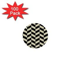 Chevron1 Black Marble & Beige Linen 1  Mini Buttons (100 Pack)  by trendistuff