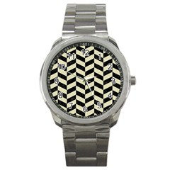 Chevron1 Black Marble & Beige Linen Sport Metal Watch by trendistuff