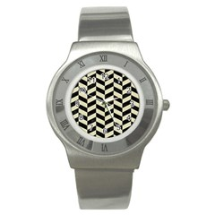Chevron1 Black Marble & Beige Linen Stainless Steel Watch by trendistuff