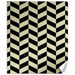 Chevron1 Black Marble & Beige Linen Canvas 8  X 10  by trendistuff