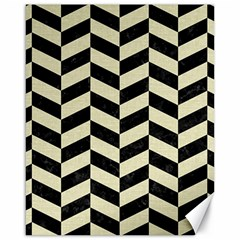 Chevron1 Black Marble & Beige Linen Canvas 16  X 20   by trendistuff