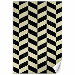 Chevron1 Black Marble & Beige Linen Canvas 24  X 36  by trendistuff