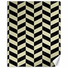 Chevron1 Black Marble & Beige Linen Canvas 11  X 14   by trendistuff