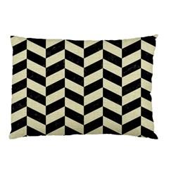 Chevron1 Black Marble & Beige Linen Pillow Case by trendistuff