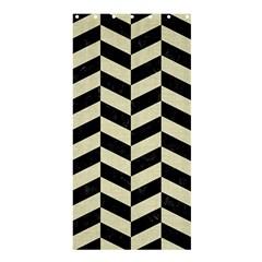 Chevron1 Black Marble & Beige Linen Shower Curtain 36  X 72  (stall)  by trendistuff