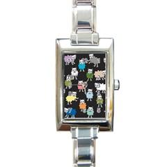 Sheep Cartoon Colorful Black Pink Rectangle Italian Charm Watch by BangZart