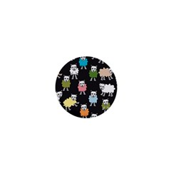 Sheep Cartoon Colorful Black Pink 1  Mini Magnets by BangZart