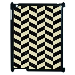 Chevron1 Black Marble & Beige Linen Apple Ipad 2 Case (black) by trendistuff