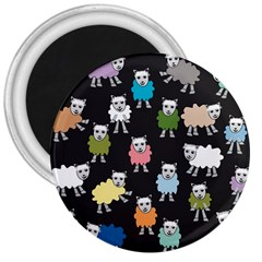 Sheep Cartoon Colorful Black Pink 3  Magnets