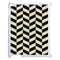 Chevron1 Black Marble & Beige Linen Apple Ipad 2 Case (white) by trendistuff