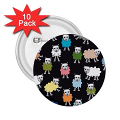 Sheep Cartoon Colorful Black Pink 2 25  Buttons (10 Pack)  by BangZart