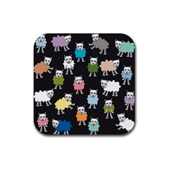 Sheep Cartoon Colorful Black Pink Rubber Coaster (square)  by BangZart