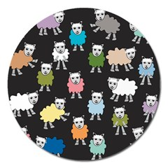 Sheep Cartoon Colorful Black Pink Magnet 5  (round)