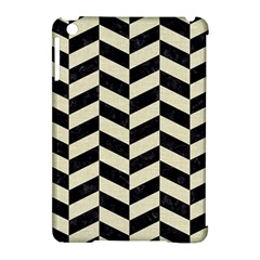 Chevron1 Black Marble & Beige Linen Apple Ipad Mini Hardshell Case (compatible With Smart Cover) by trendistuff