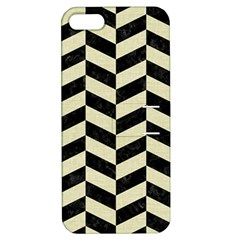 Chevron1 Black Marble & Beige Linen Apple Iphone 5 Hardshell Case With Stand by trendistuff