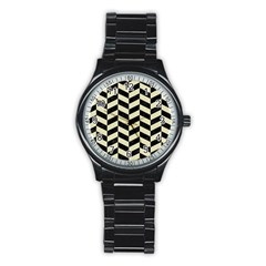Chevron1 Black Marble & Beige Linen Stainless Steel Round Watch by trendistuff