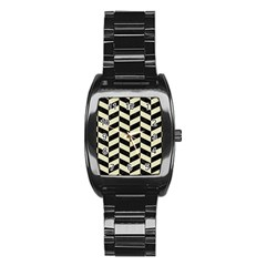 Chevron1 Black Marble & Beige Linen Stainless Steel Barrel Watch by trendistuff