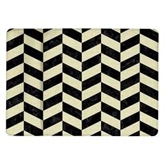 Chevron1 Black Marble & Beige Linen Samsung Galaxy Tab 10 1  P7500 Flip Case by trendistuff