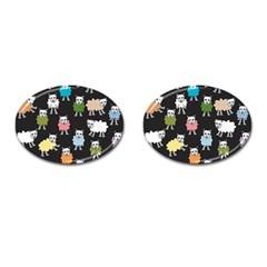 Sheep Cartoon Colorful Black Pink Cufflinks (oval) by BangZart
