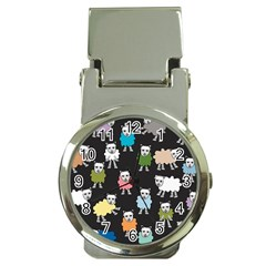 Sheep Cartoon Colorful Black Pink Money Clip Watches