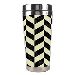 Chevron1 Black Marble & Beige Linen Stainless Steel Travel Tumblers by trendistuff