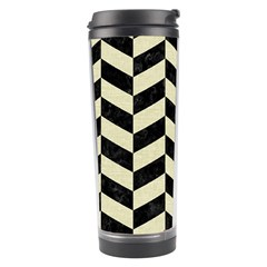 Chevron1 Black Marble & Beige Linen Travel Tumbler by trendistuff
