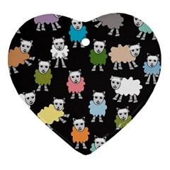 Sheep Cartoon Colorful Black Pink Heart Ornament (two Sides) by BangZart