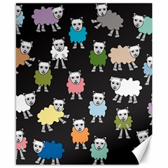 Sheep Cartoon Colorful Black Pink Canvas 8  X 10